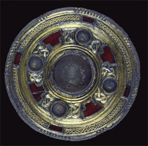 Gilt and garnet disc brooch (Click to enlarge)